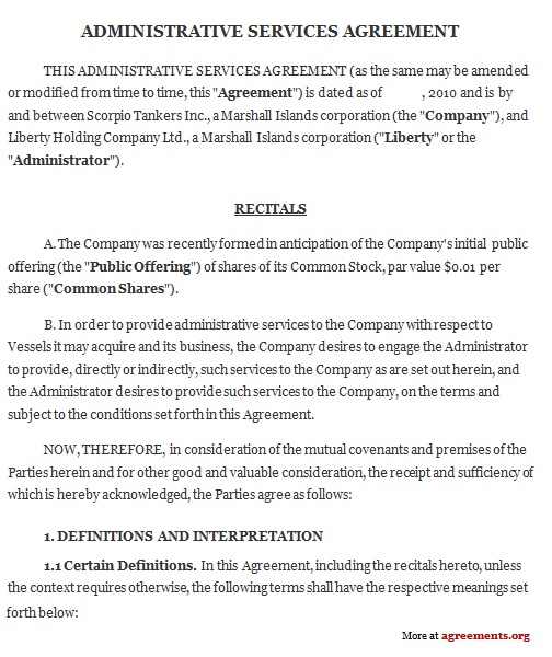 Administrative Services Agreement Sample Administrative Services