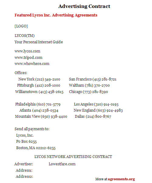 Advertising Contract, Sample Advertising Contract Template