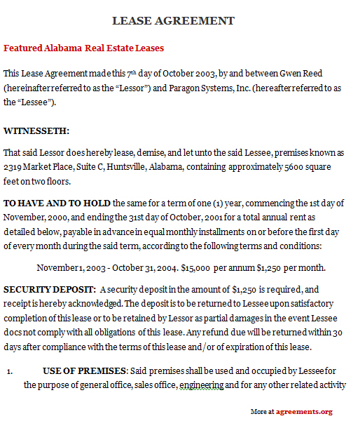 Alabama Lease Agreement Sample Alabama Lease Agreement