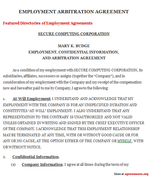 Arbitration Agreement Sample Arbitration Agreement Template