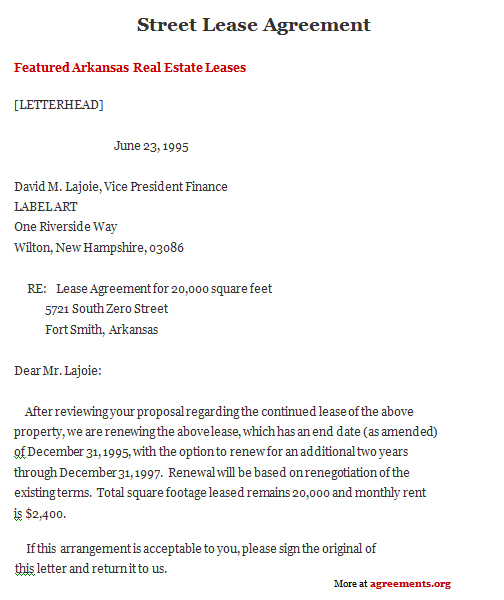 Arkansas Lease Template - Download PDF