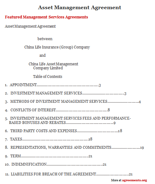 Asset Management Agreement, Sample Asset Management Agreement