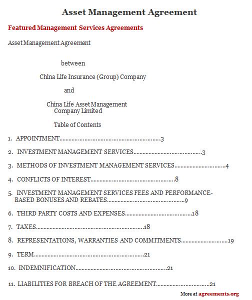 Download Asset Management Agreement Template
