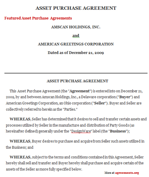 Asset Purchase Agreement Template Download
