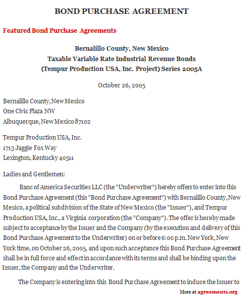 Bond Purchase Agreement, Sample Bond Purchase Agreement Template