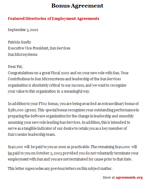 Bonus Agreement, Sample Bonus Agreement Template | Agreements.Org