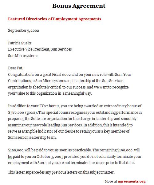 Download Bonus Agreement Template