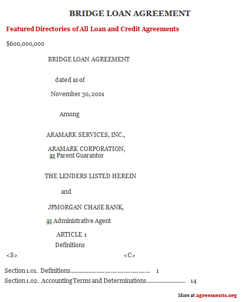 Bridge Loan Agreement, Sample Bridge Loan Agreement Template