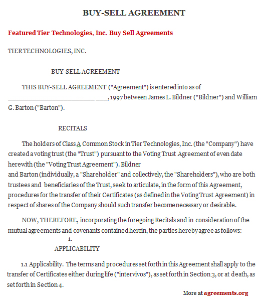 business buyout agreement template - get sample buy sell agreements business agreements