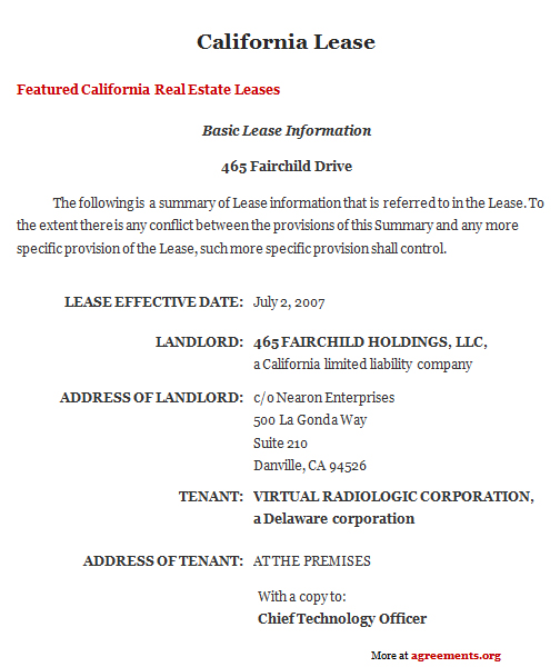 California Lease Agreement, Sample California Lease Agreement