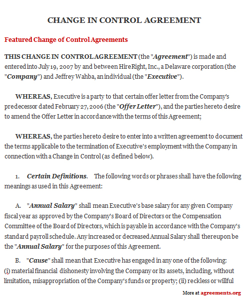 Change In Control Agreement, Sample Change In Control Agreement
