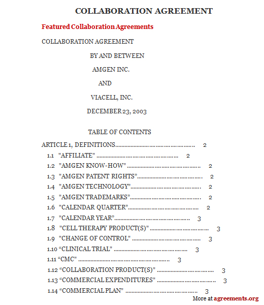 Download Collaboration Agreement Template