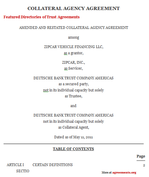 Collateral Agreement Template Download Word Pdf