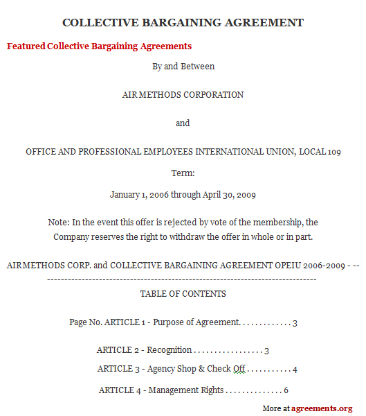 Collective Bargaining Agreement Sample Collective Bargaining