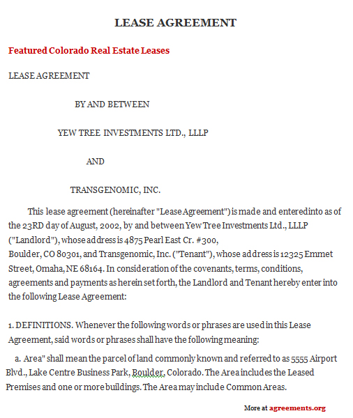 Colorado Lease Agreement, Sample Colorado Lease Agreement Template