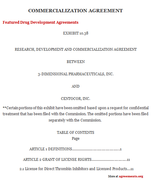 Commercialization Agreement, Sample Commercialization Agreement