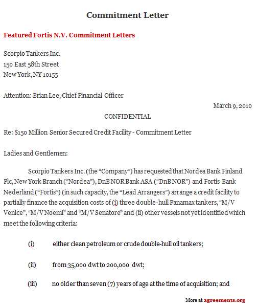 Commitment Letter Agreement, Sample Commitment Letter Agreement