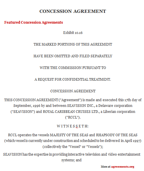 Concession Agreement, Sample Concession Agreement Template