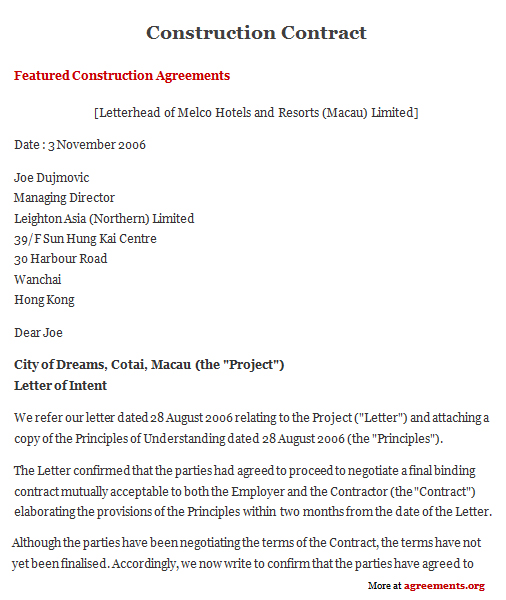 Construction Contract Agreement Sample Construction Contract