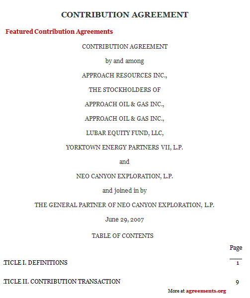Contribution Agreement Template