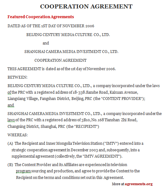 Cooperation Agreement, Sample Cooperation Agreement Template