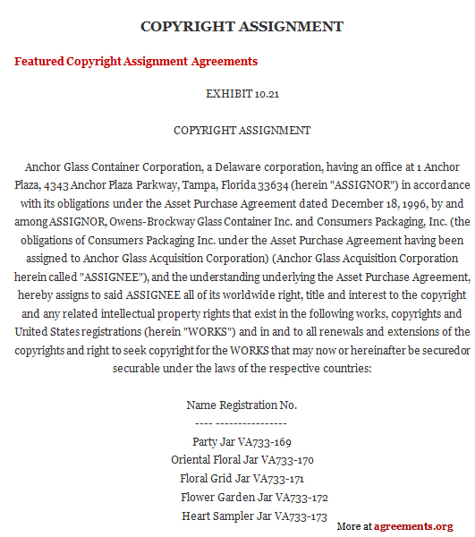 Copyright Assignment Agreement, Sample Copyright Assignment