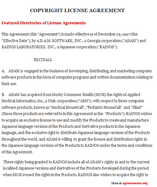 Copyright License Agreement  AgreementsOrg