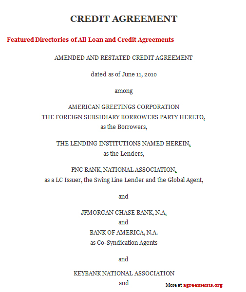 Credit Agreement Sample Credit Agreement Template