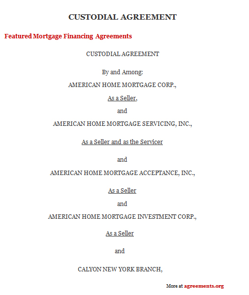Download Custodial Agreement Template