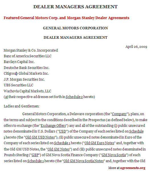 Dealers Managers Agreement