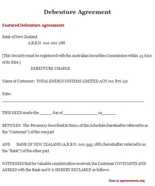 Debenture Agreement Template