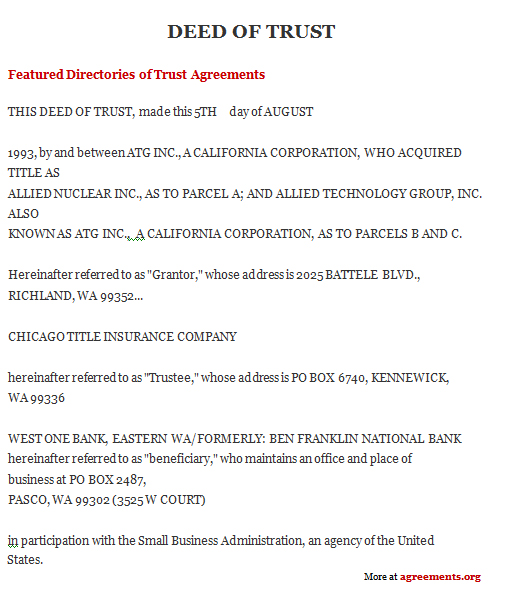 Deed Of Trust Agreement, Sample Deed Of Trust Agreement Template