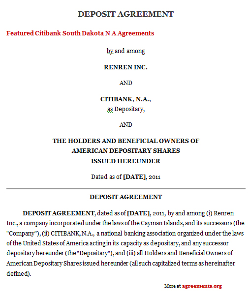 Download Deposit Agreement Template