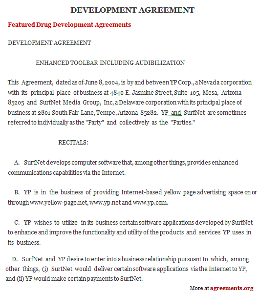 Development Agreement, Sample Development Agreement Template