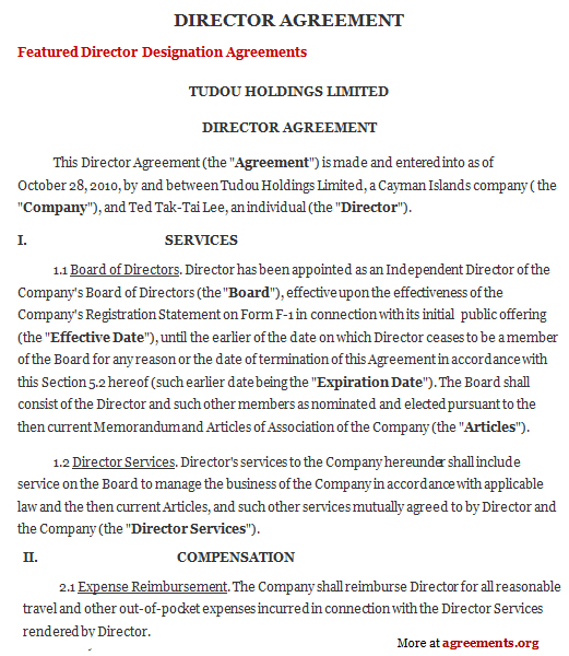 Board of Directors Agreement Template - Download PDF
