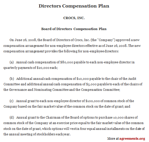 Director Compensation Plan Agreement, Sample Director Compensation
