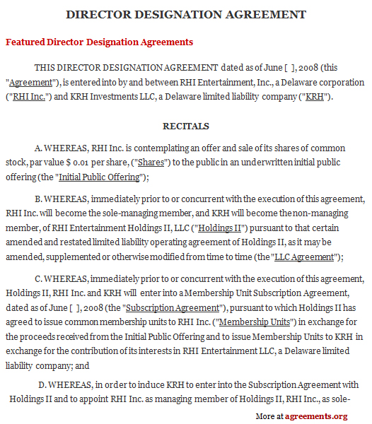 Director Designation Agreement Sample Director Designation