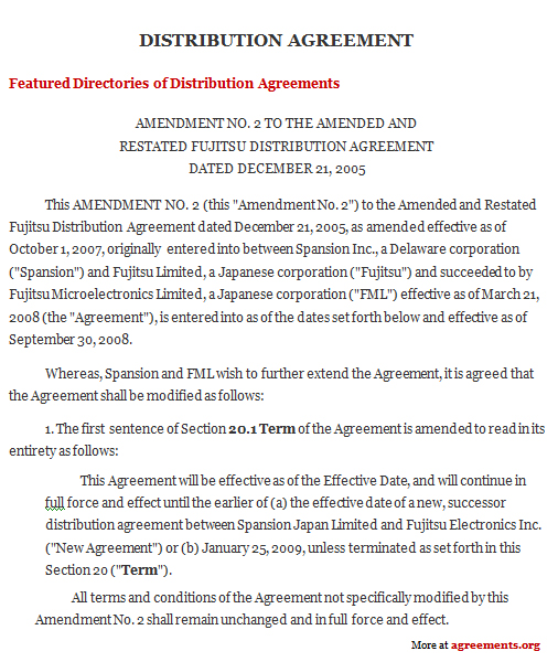 Distribution Agreement, Sample Distribution Agreement Template