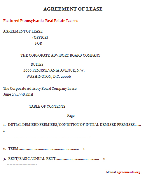 District of Columbia Lease Agreement Sample District of Columbia – Basic Lease Agreements