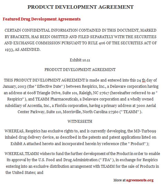 Drug Development Agreement Template - Download PDF