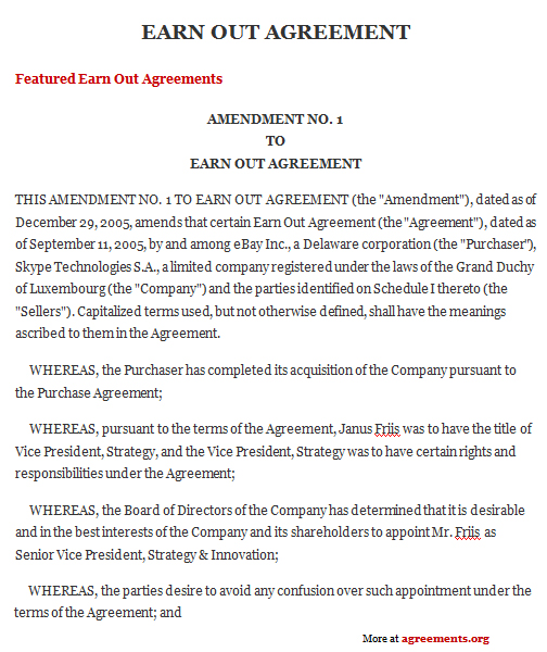 Earn Out Agreement, Sample Earn Out Agreement Template