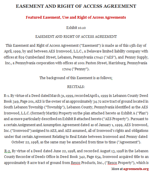 Easement Use and Right of Access Agreement - Download PDF