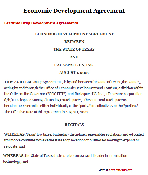 Economic Development Agreement Agreements Business Legal