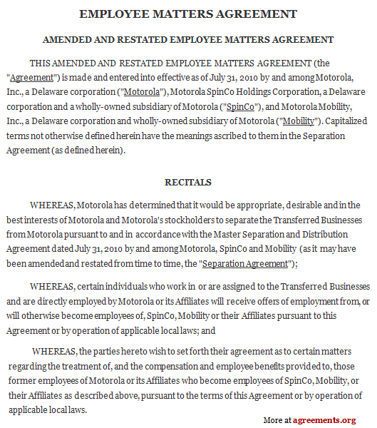 Employee Matters Agreement, Sample Employee Matters Agreement ...