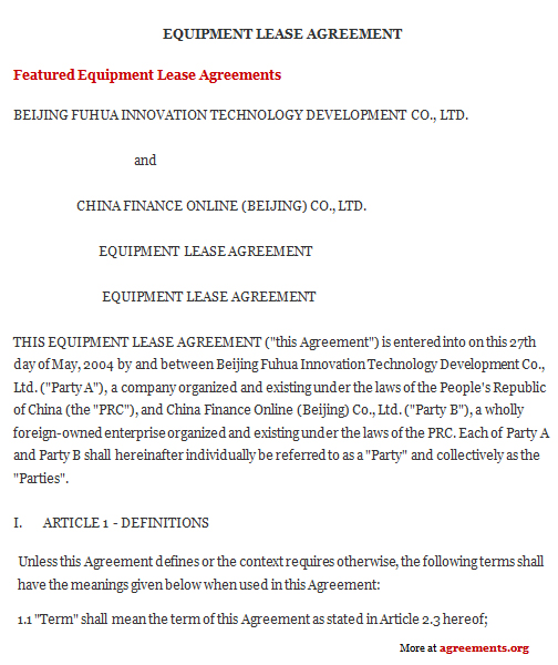 Download Equipment Lease Agreement Template