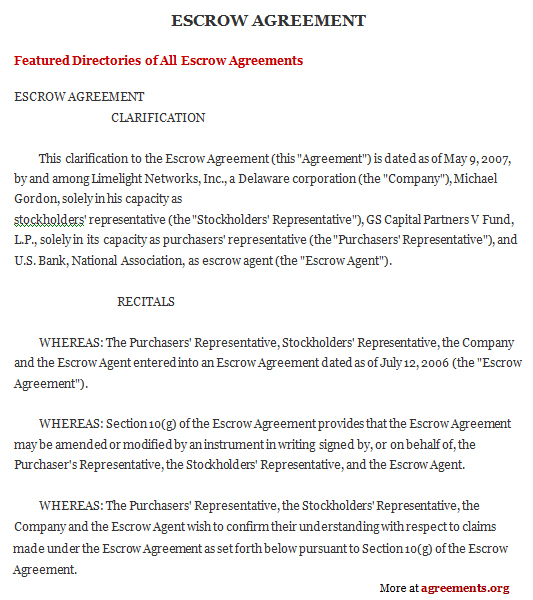 Escrow Agreement, Sample Escrow Agreement Template | Agreements.Org