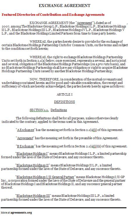Download Exchange Agreement Template