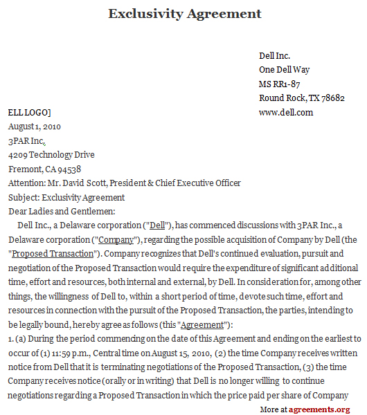 Download Exclusivity Contract Agreement Template