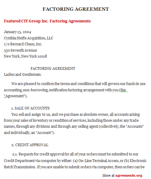 Factoring Agreement Template