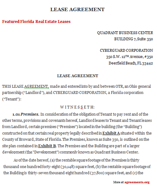 Florida Lease Agreement, Sample Florida Lease Agreement Template